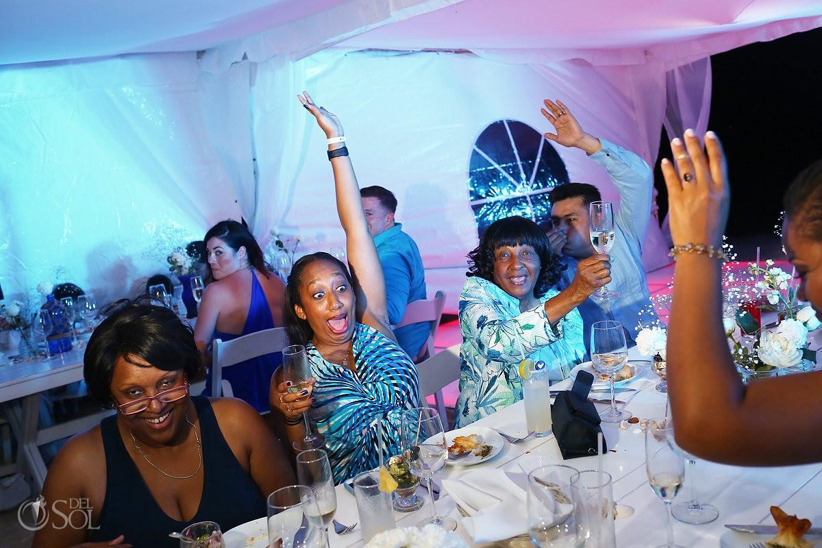 Laughing toasts speeches, beach Wedding reception tent, Villa Sombras del Viento, Soliman Bay, Riviera Maya, Mexico