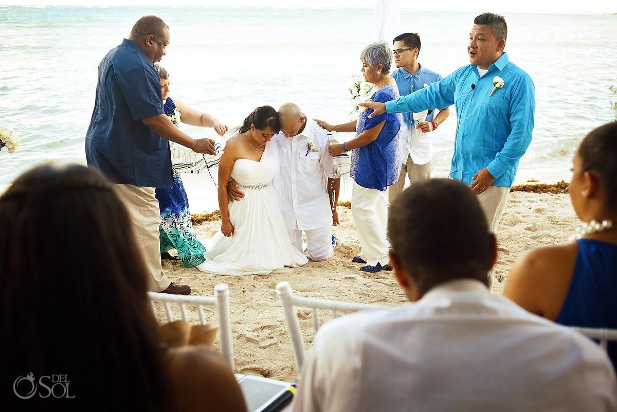 Greek orthodox wedding tradition shawl beach Wedding Villa Sombras del Viento, Soliman Bay, Riviera Maya, Mexico