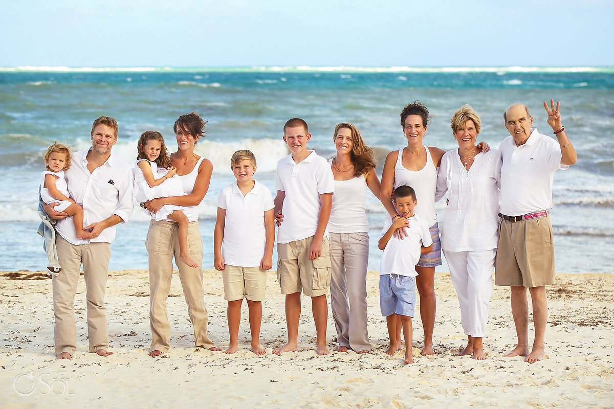 Formal beach family portrait, Belmond Maroma beach, Playa del Carmen Mexico