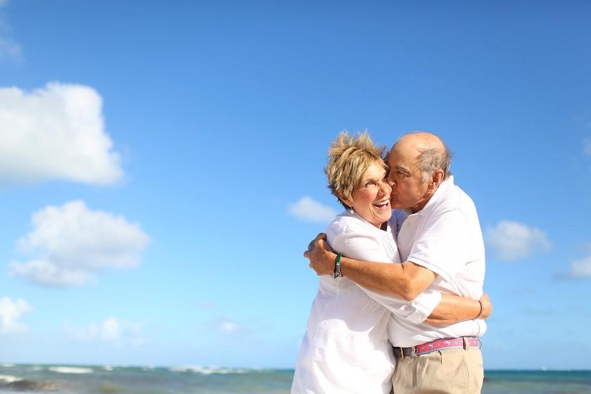 grandma grandpa beach portrait 50th Wedding Anniversary Belmond Maroma beach, Playa del Carmen Mexico