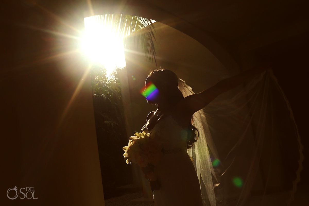 Artistic bridal portrait, silhouette flare light, Wedding Secrets Maroma Beach Riviera Cancun, Mexico