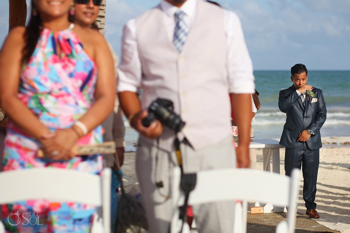 emotional groom crying, Wedding Secrets Maroma Beach Riviera Cancun, Mexico