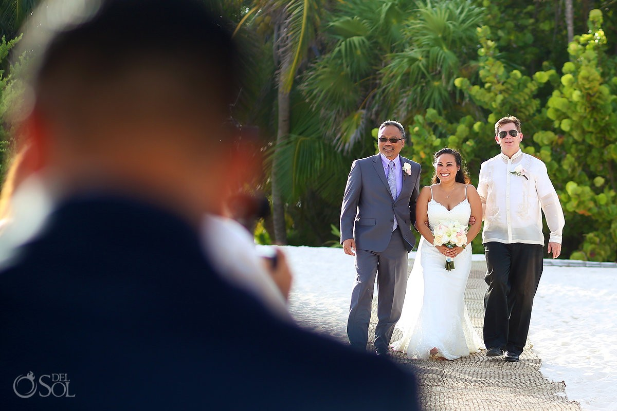 presentation bride entry father step-father tow parents, Wedding Secrets Maroma Beach Riviera Cancun, Mexico