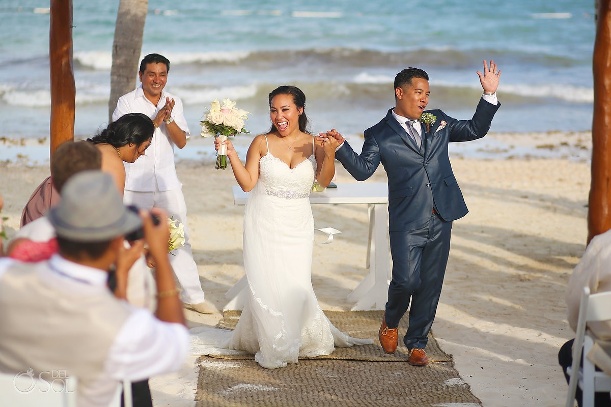 Bride groom wedding celebration ceremony exit, Secrets Maroma Beach Riviera Cancun, Mexico