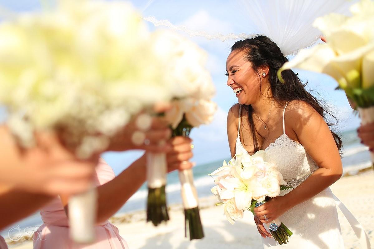 Bride bridesmaids bouquets artistic wedding portrait, Secrets Maroma Beach Riviera Cancun, Mexico