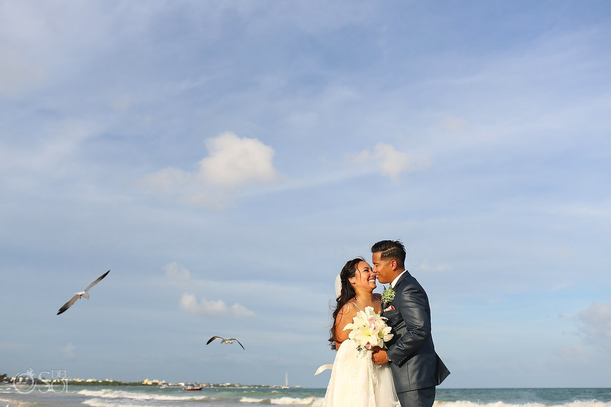 Beach wedding portraits, birds, seagulls, Secrets Maroma Riviera Cancun, Mexico