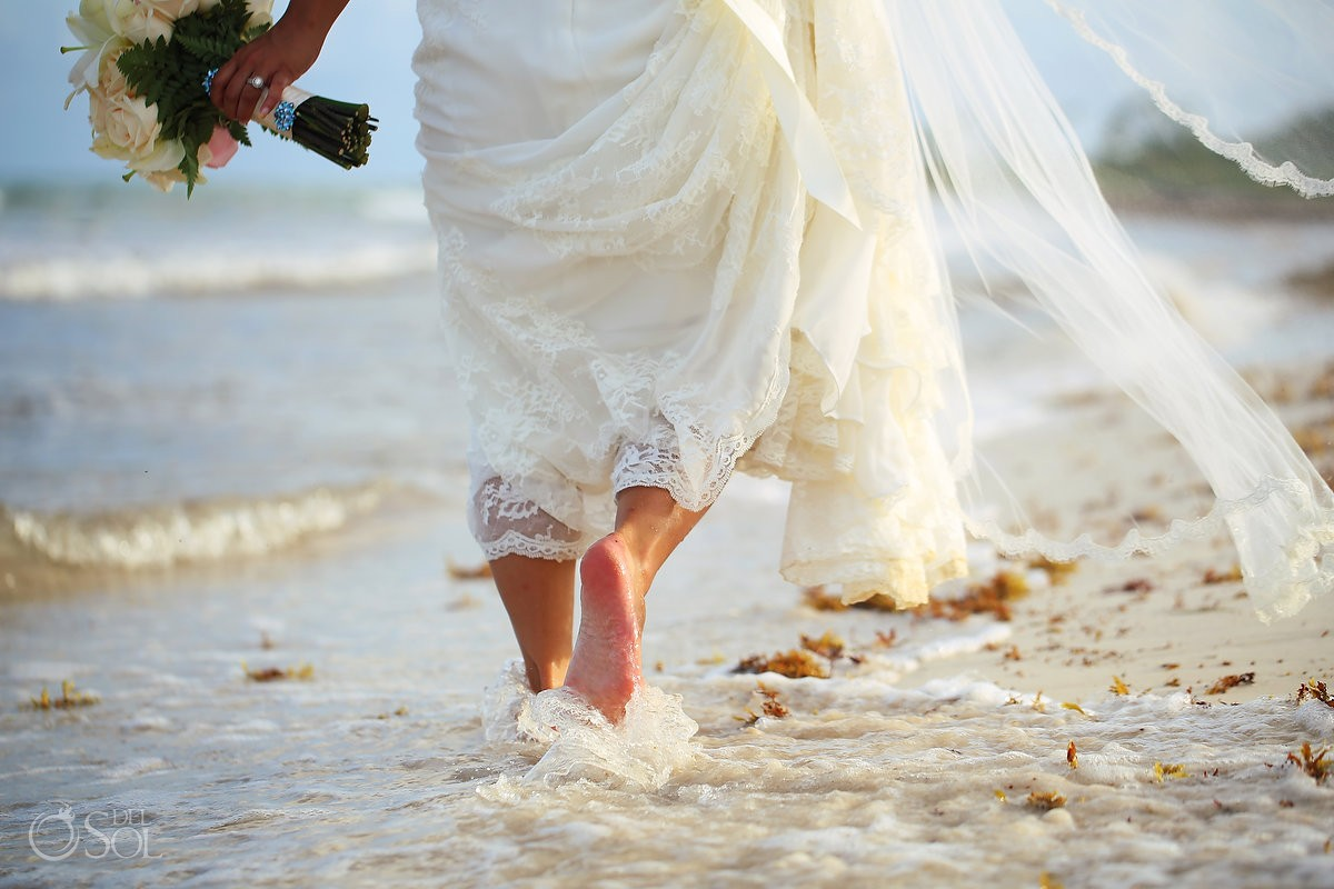 bride walking water detail, Wedding Secrets Maroma Beach Riviera Cancun, Mexico