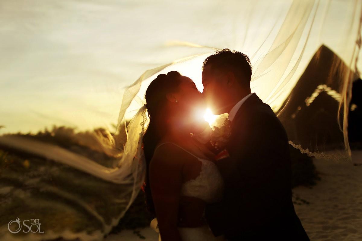 creative wedding portrait silhouette, Secrets Maroma Beach Riviera Cancun, Mexico