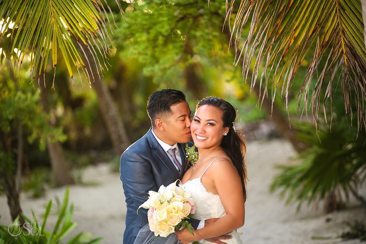 golden hour wedding portrait, Secrets Maroma Beach Riviera Cancun, Mexico