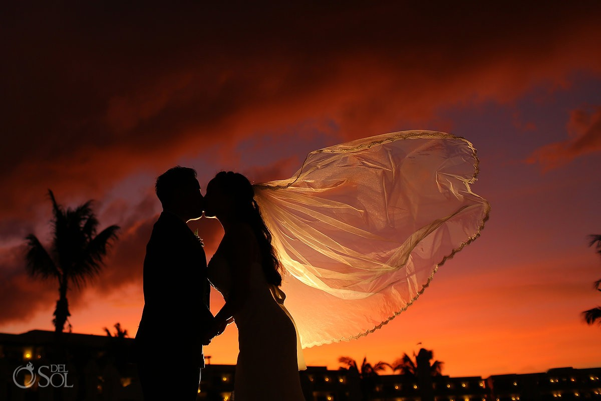 sunset silhouette wedding portrait, veil flying, Secrets Maroma Beach Riviera Cancun, Mexico