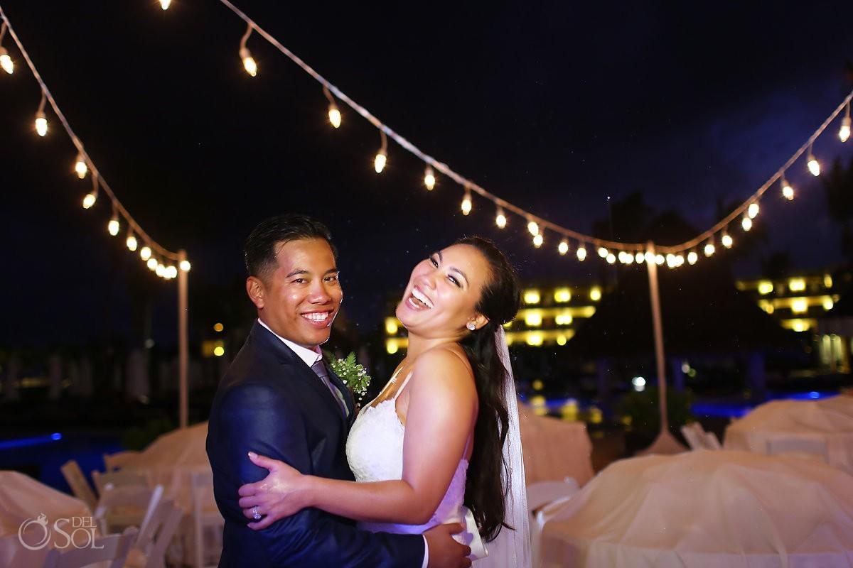 laughing rain portrait, Wedding reception gazebo terrace, Secrets Maroma Riviera Cancun, Mexico