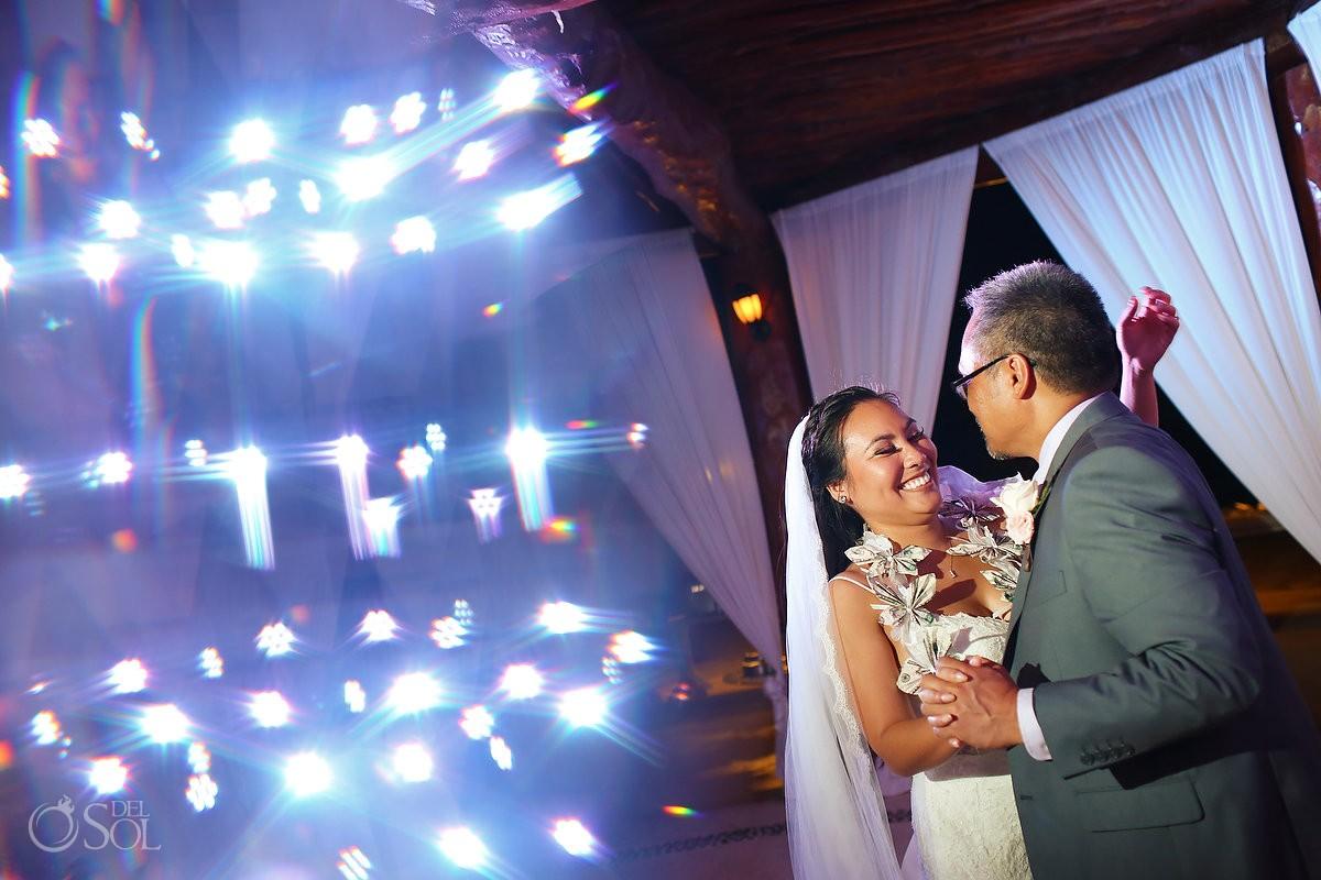 Father daughter money dance, leis, Wedding reception gazebo terrace, Secrets Maroma Riviera Cancun, Mexico