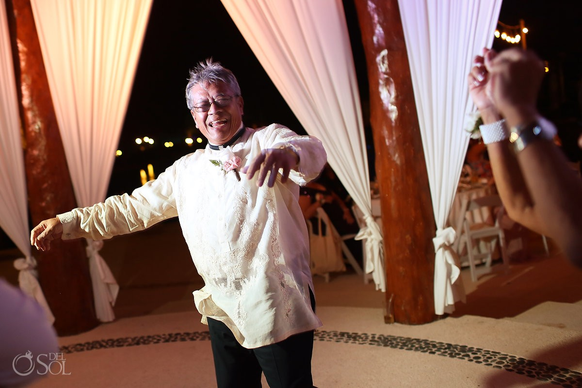 father groom dancing, Wedding reception gazebo terrace, Secrets Maroma Riviera Cancun, Mexico
