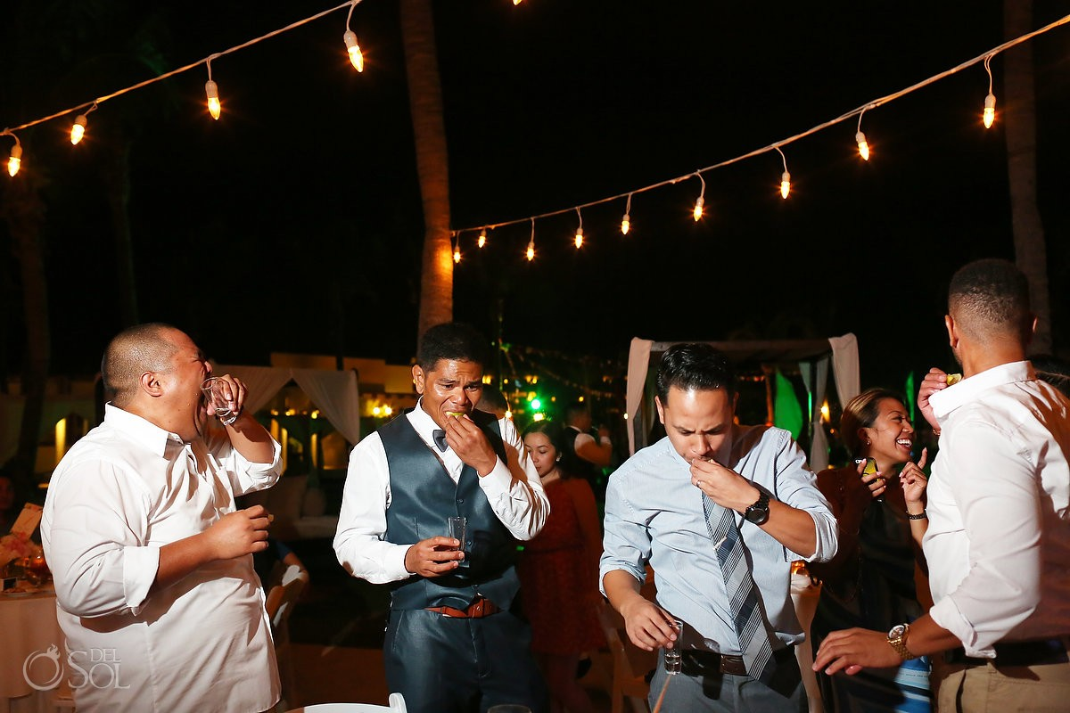 tequila shots, alcohol, Wedding reception gazebo terrace, Secrets Maroma Riviera Cancun, Mexico