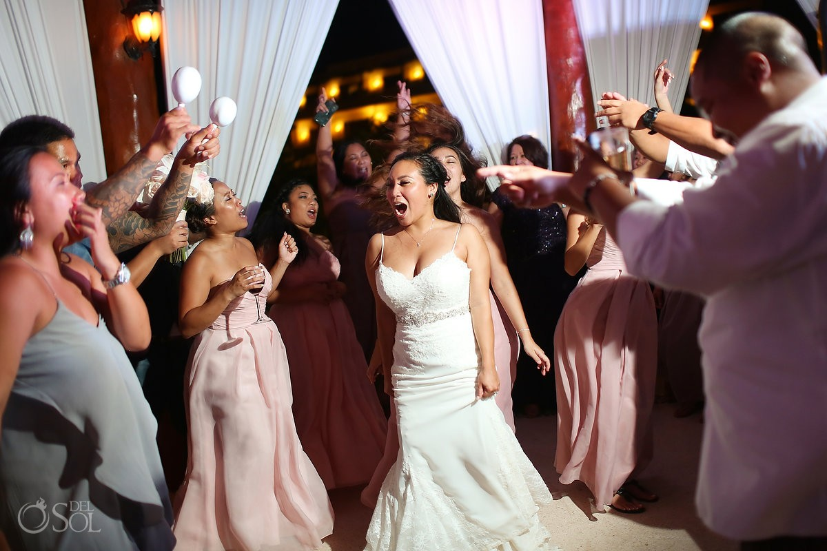 bride dancing, Wedding reception gazebo terrace, Secrets Maroma Riviera Cancun, Mexico