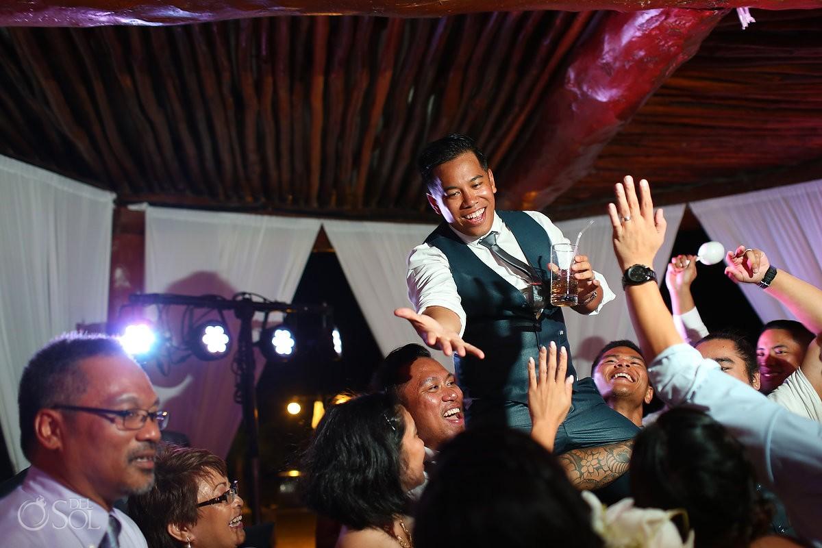 lifting throwing groom hight five, Wedding reception gazebo terrace, Secrets Maroma Riviera Cancun, Mexico
