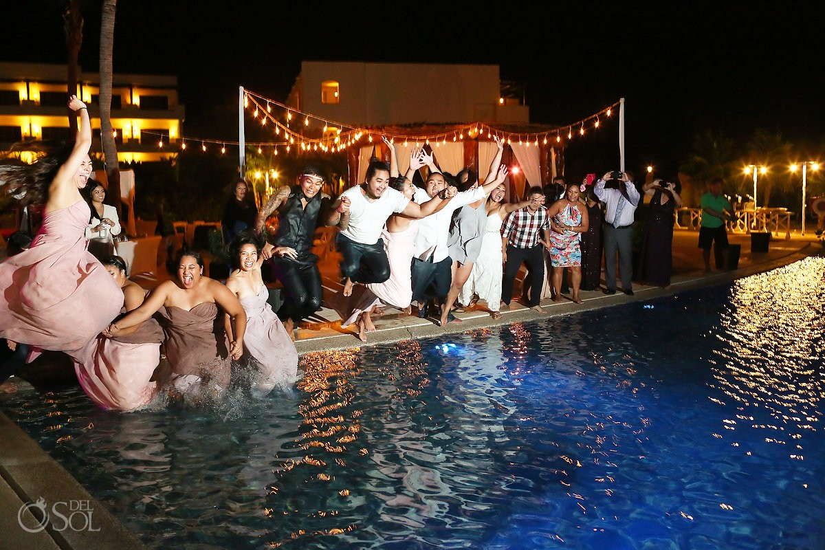 Wedding party jumping swimming pool, funny picture, Wedding reception gazebo terrace, Secrets Maroma Riviera Cancun, Mexico