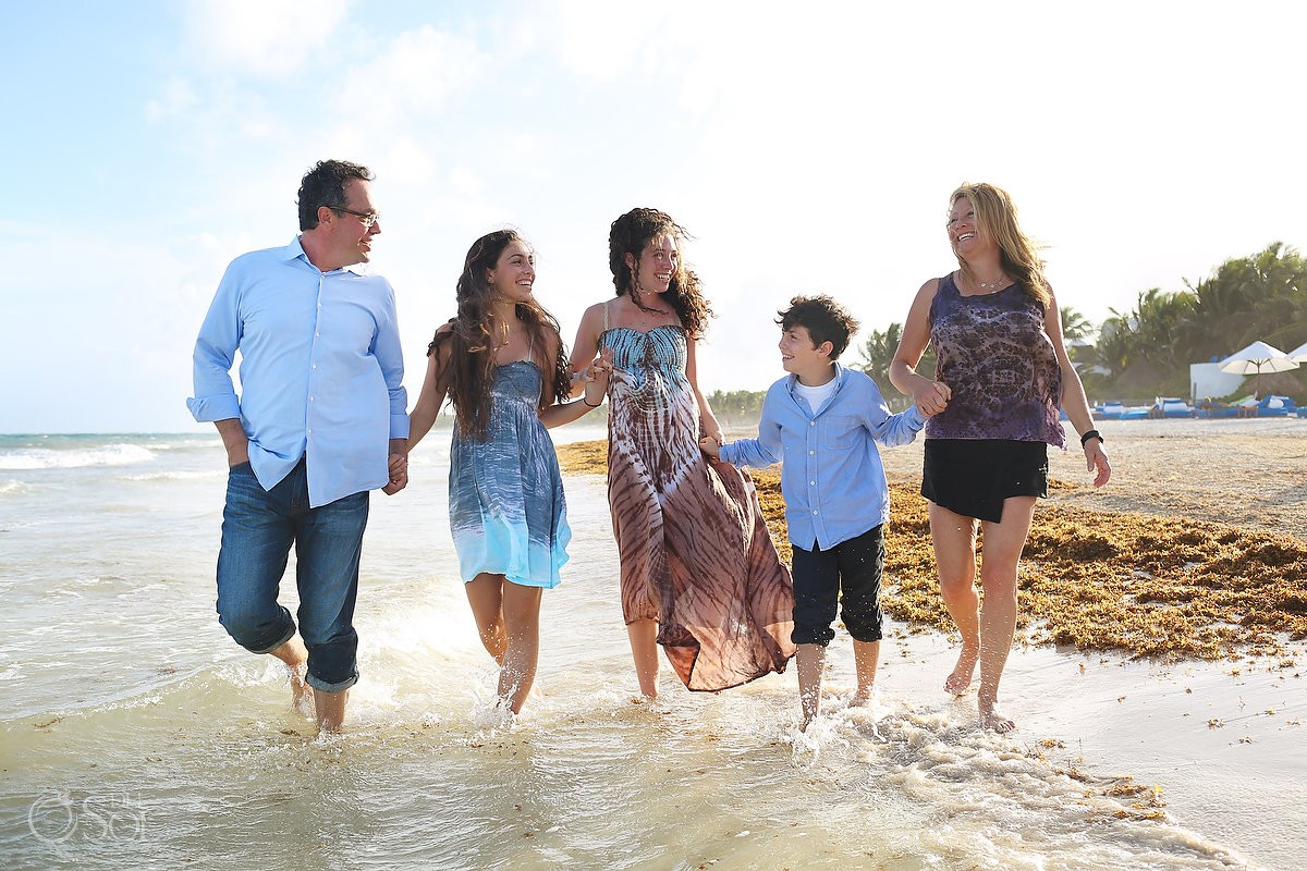 Family running in the ocean, Portraits Belmond Maroma, Playa del Carmen, Mexico