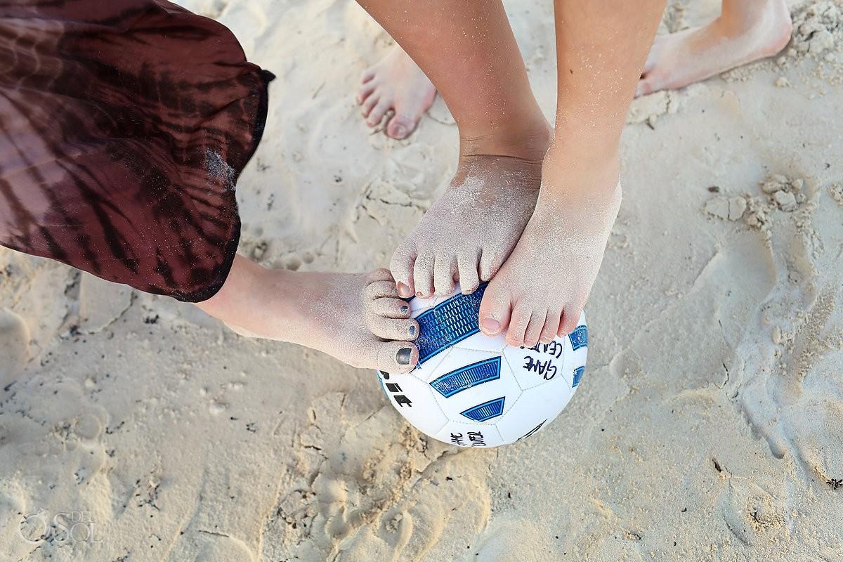 sandy feet football detail Family Portraits Belmond Maroma, Playa del Carmen, Mexico