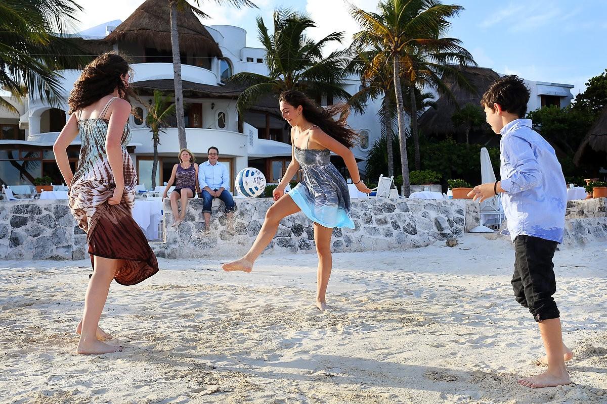 girls playing football dresses Family Portraits Belmond Maroma, Playa del Carmen, Mexico