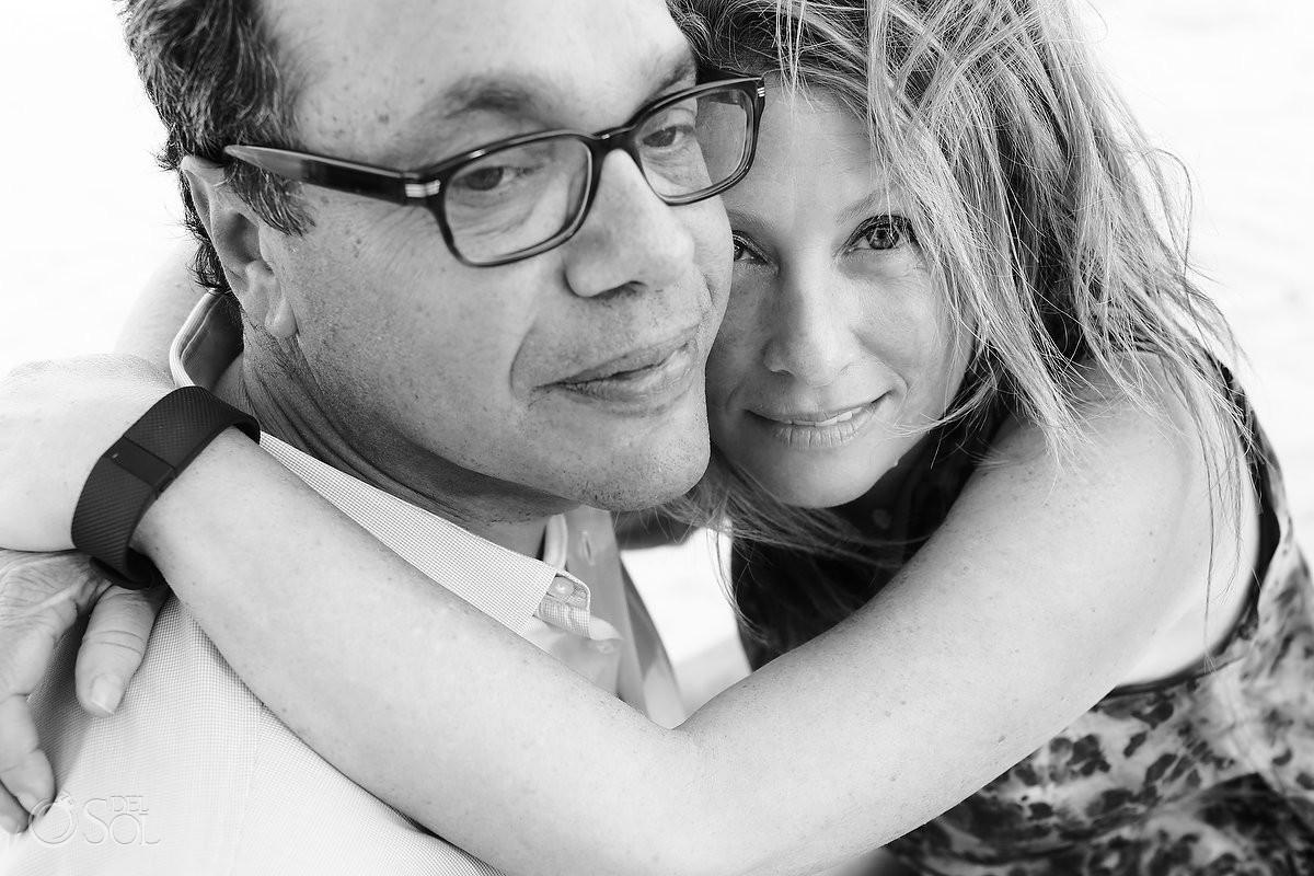 couple hug, black white, Family Portraits Belmond Maroma, Playa del Carmen, Mexico