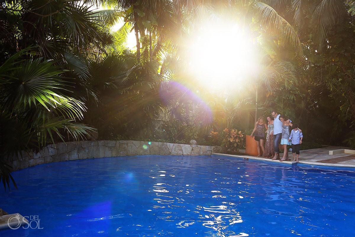 Family Portraits garden pool sunset Belmond Maroma, Playa del Carmen, Mexico