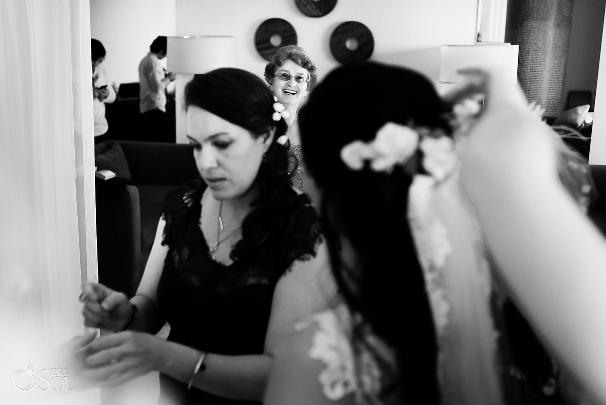 Bride getting ready smiling grandma, destination Wedding Live Aqua Cancun, Mexico