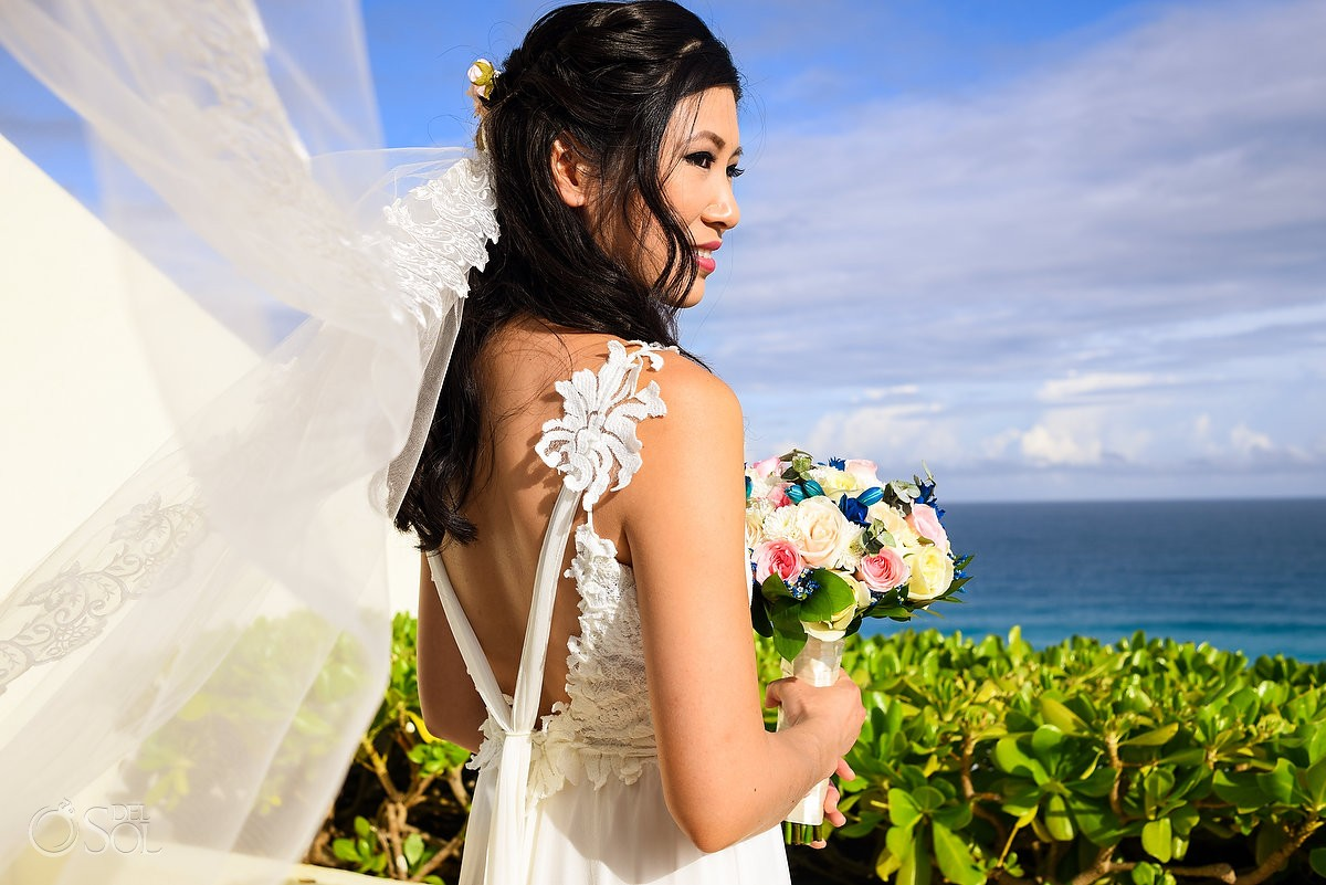 Beautiful asian bride portrait, getting ready, destination Wedding Live Aqua Cancun, Mexico