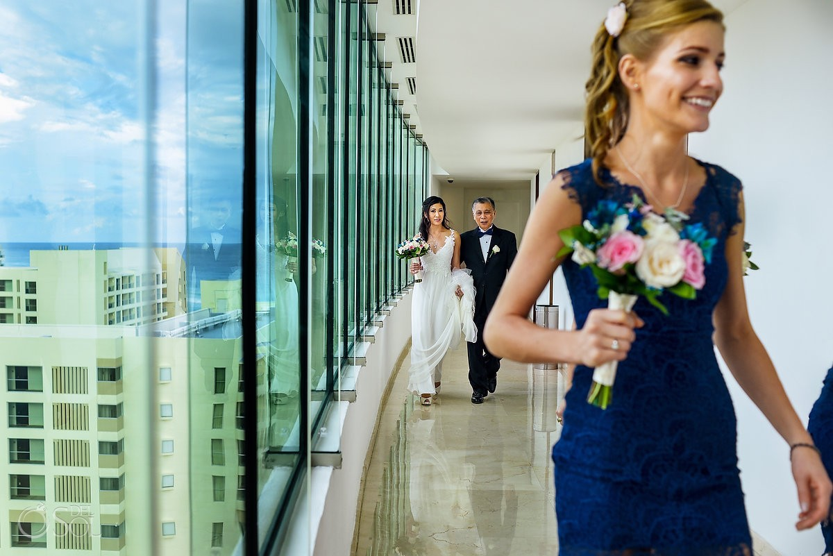bride father walking glass corridor, destination Wedding Live Aqua Cancun, Mexico