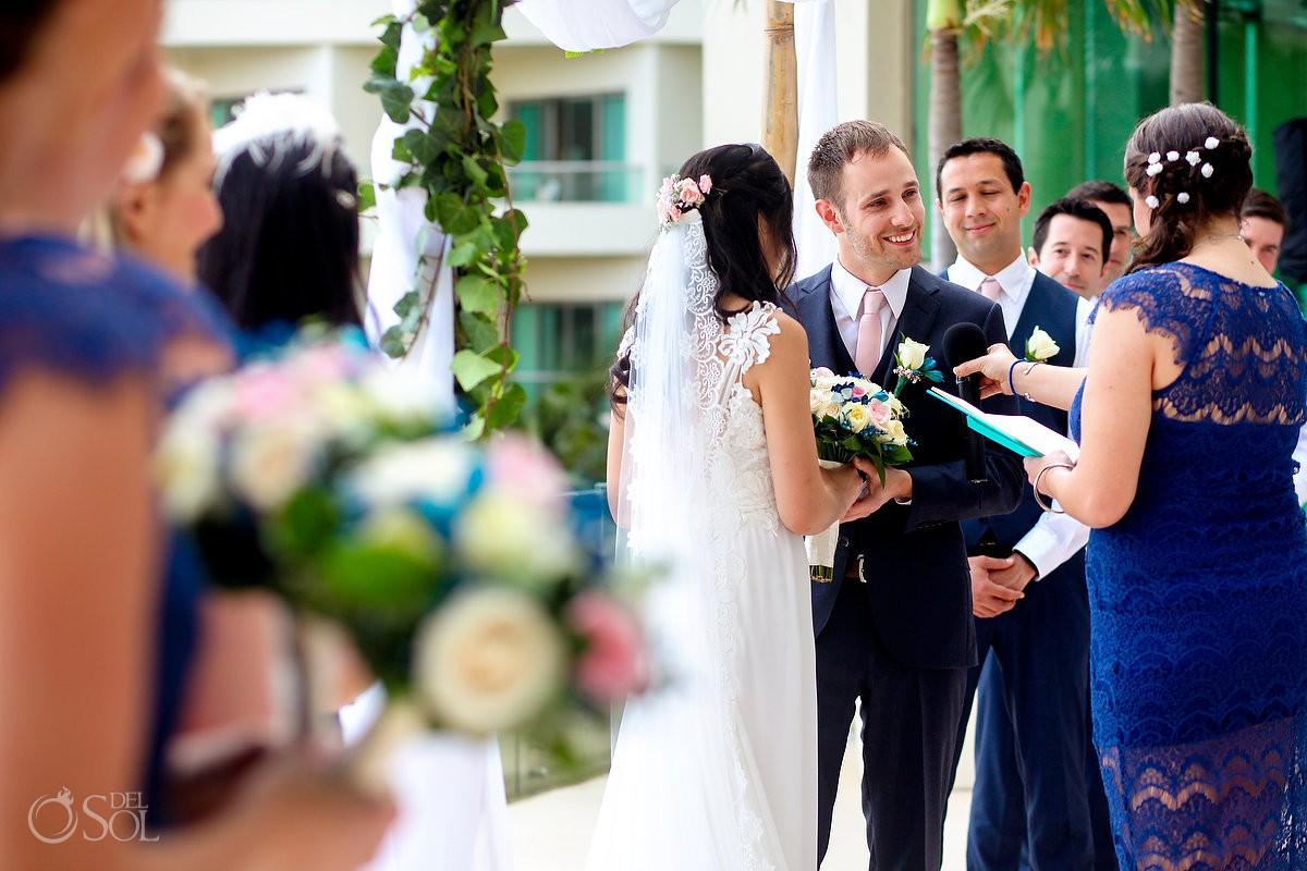 Groom smile terrace wedding ceremony, Live Aqua Cancun, Mexico