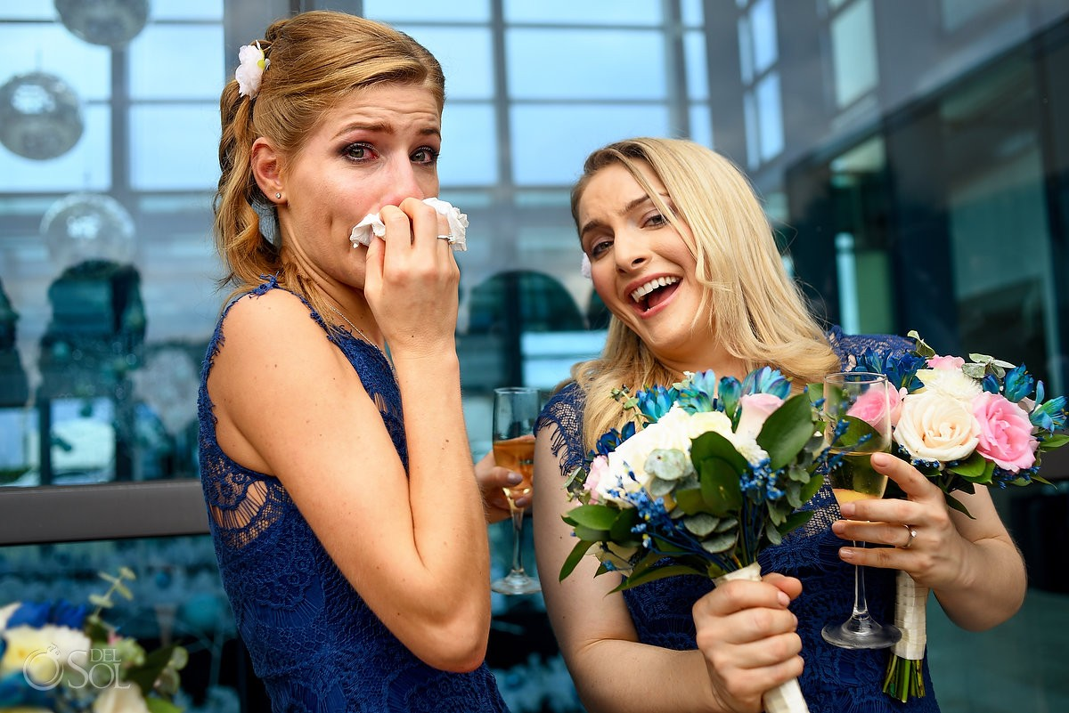 Bridesmaids blue lace dress laugh cry, destination wedding Live Aqua Cancun, Mexico