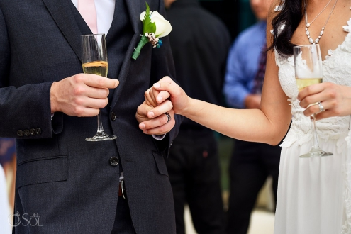 Hold hands champagne, just married, bride groom, wedding detail, destination wedding Live Aqua Cancun, Mexico