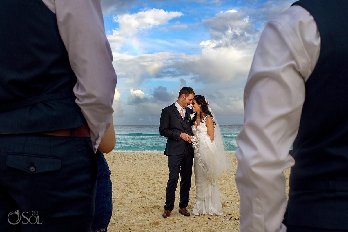 Beach wedding portrait rainbow, Live Aqua Cancun, Cancun, Mexico