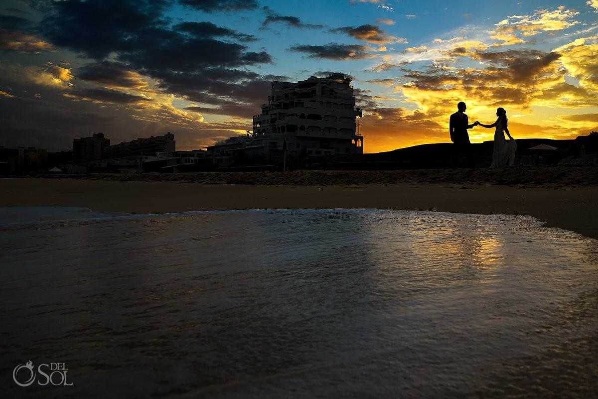 Sunset beach wedding portrait, bride groom silhouette, Wedding at Live Aqua Cancun, Cancun, Mexico