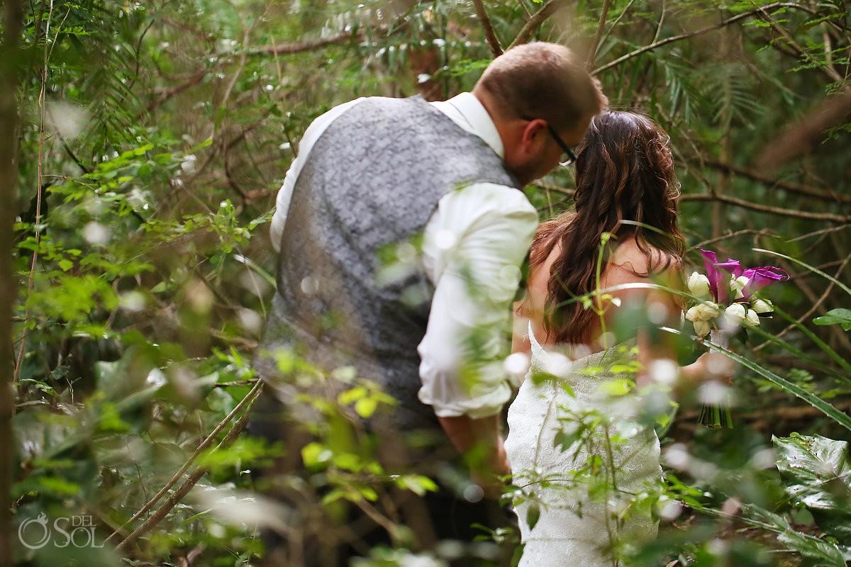 Bride groom walking jungle, cenote Trash Dress, Riviera Maya, Mexico.
