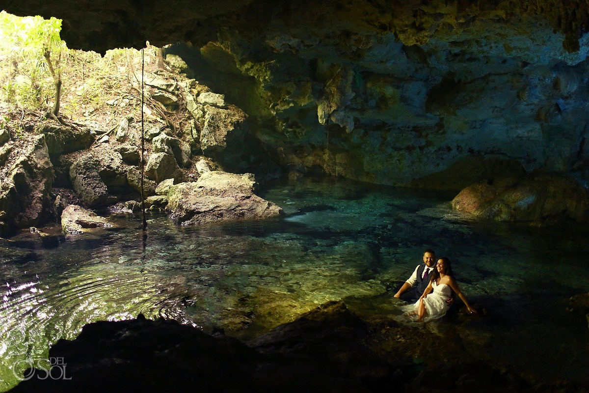 Cenote trash dress, cave, Riviera Maya, Mexico