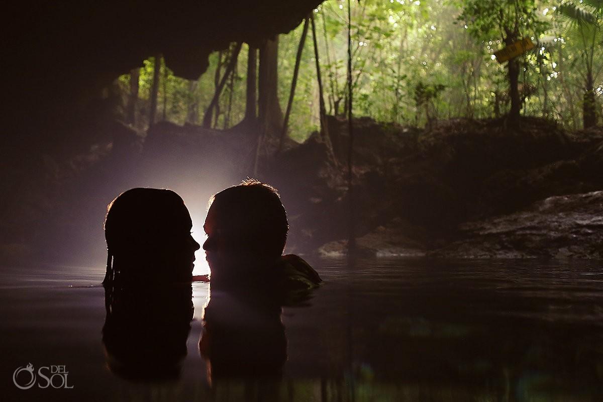 bride groom silhouette, cenote Trash Dress, Riviera Maya, Mexico.