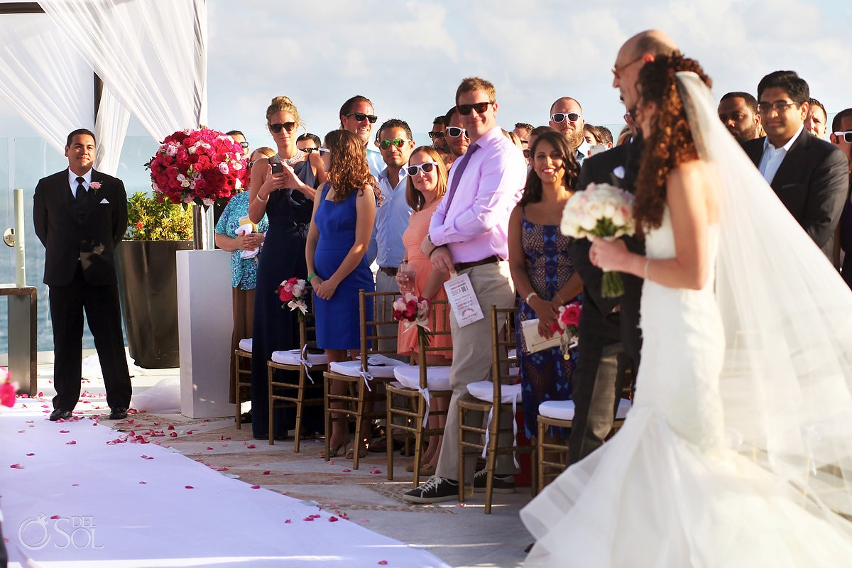 first look, bride enters Rooftop Wedding, sky deck, Beach Palace, Cancun, Mexico