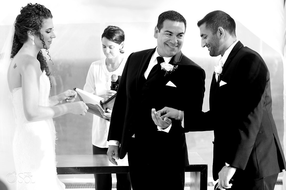 groomsman gives groom rings, black white, Rooftop Wedding, sky deck, Beach Palace, Cancun, Mexico