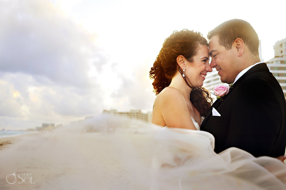 beach wedding portrait, Wedding, Beach Palace, Cancun, Mexico