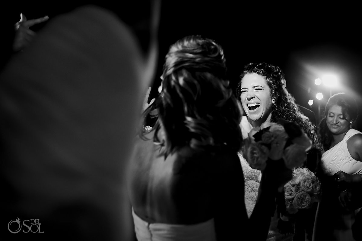 bride laughing black white, wedding reception, sky terrace, Beach Palace, Cancun, Mexico