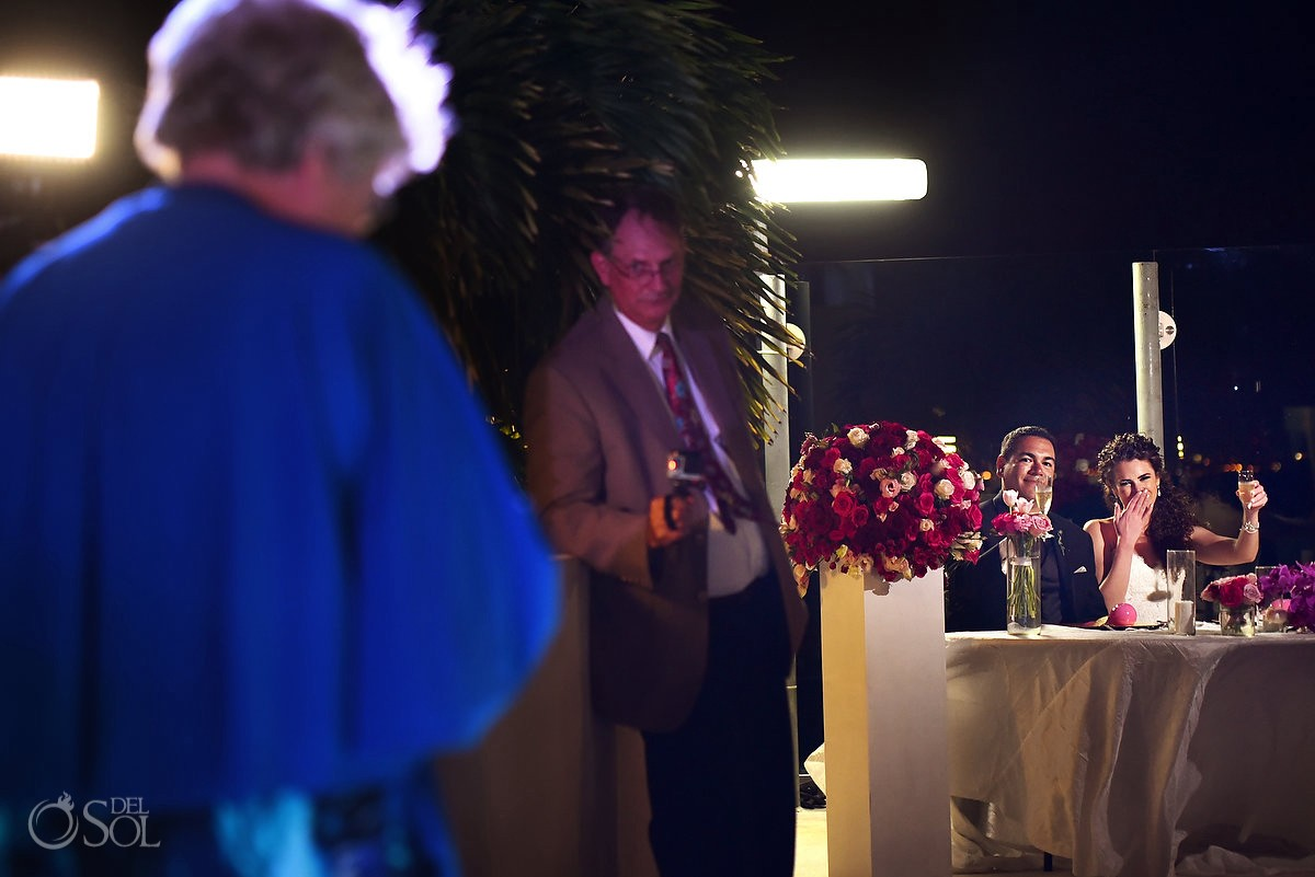 speeches, wedding reception, sky terrace, Beach Palace, Cancun, Mexico