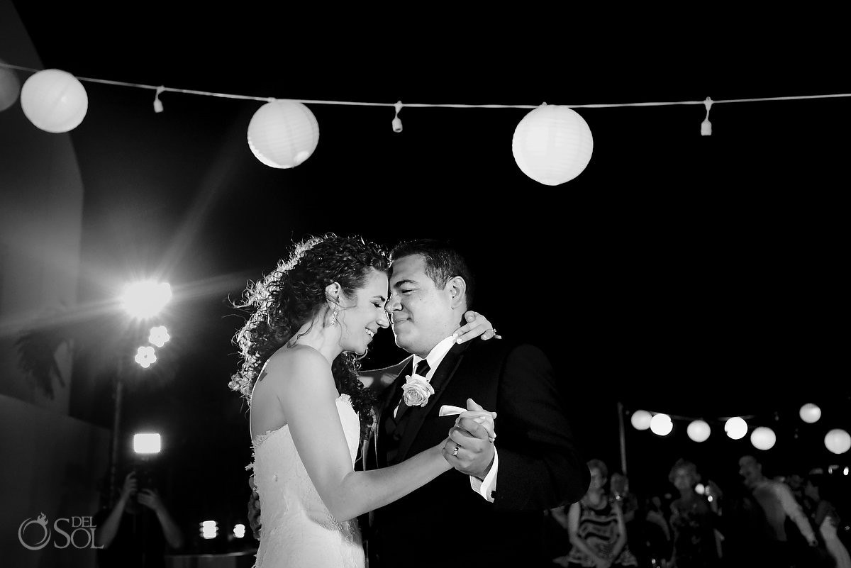 black white first dance, wedding reception, sky terrace, Beach Palace, Cancun, Mexico