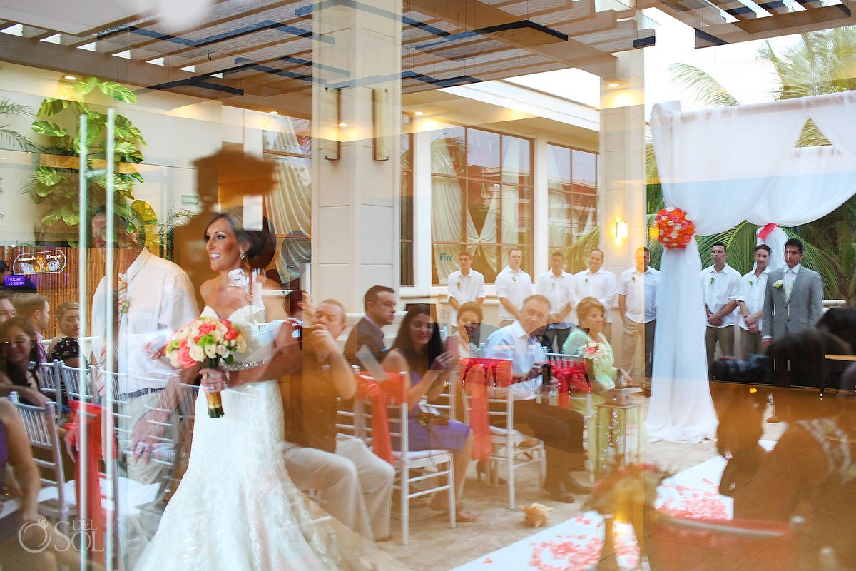 creative reflection bride entrance, rain Wedding Dreams Riviera Cancun Resort, Mexico