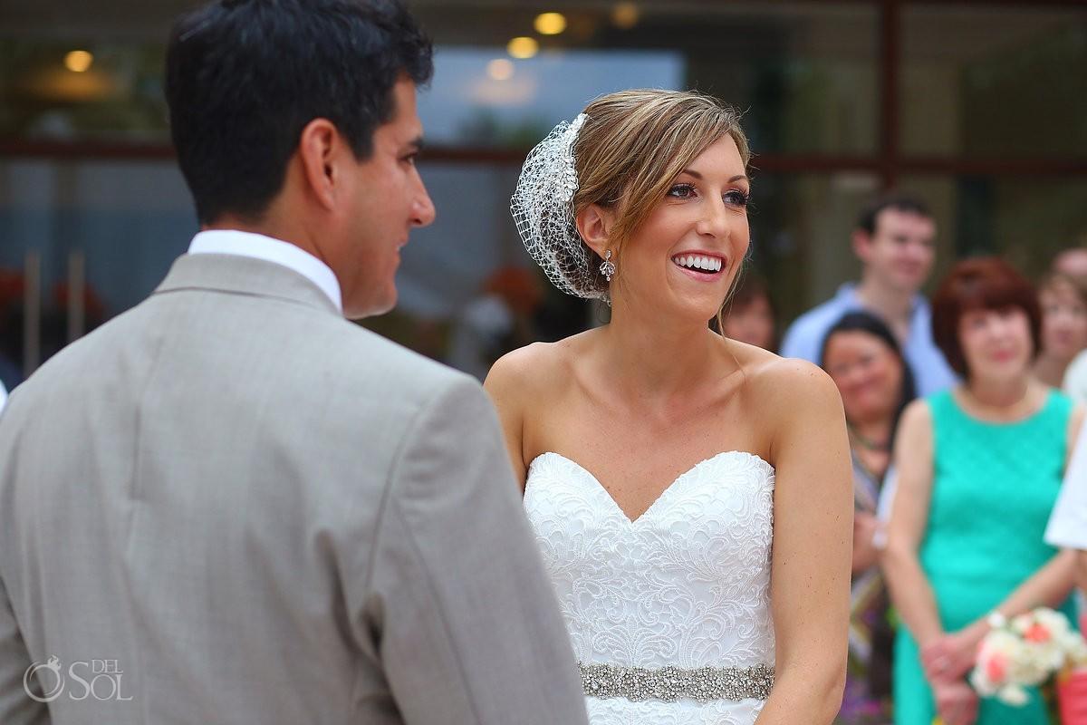 bride smile laugh, rain Wedding Dreams Riviera Cancun Resort, Mexico