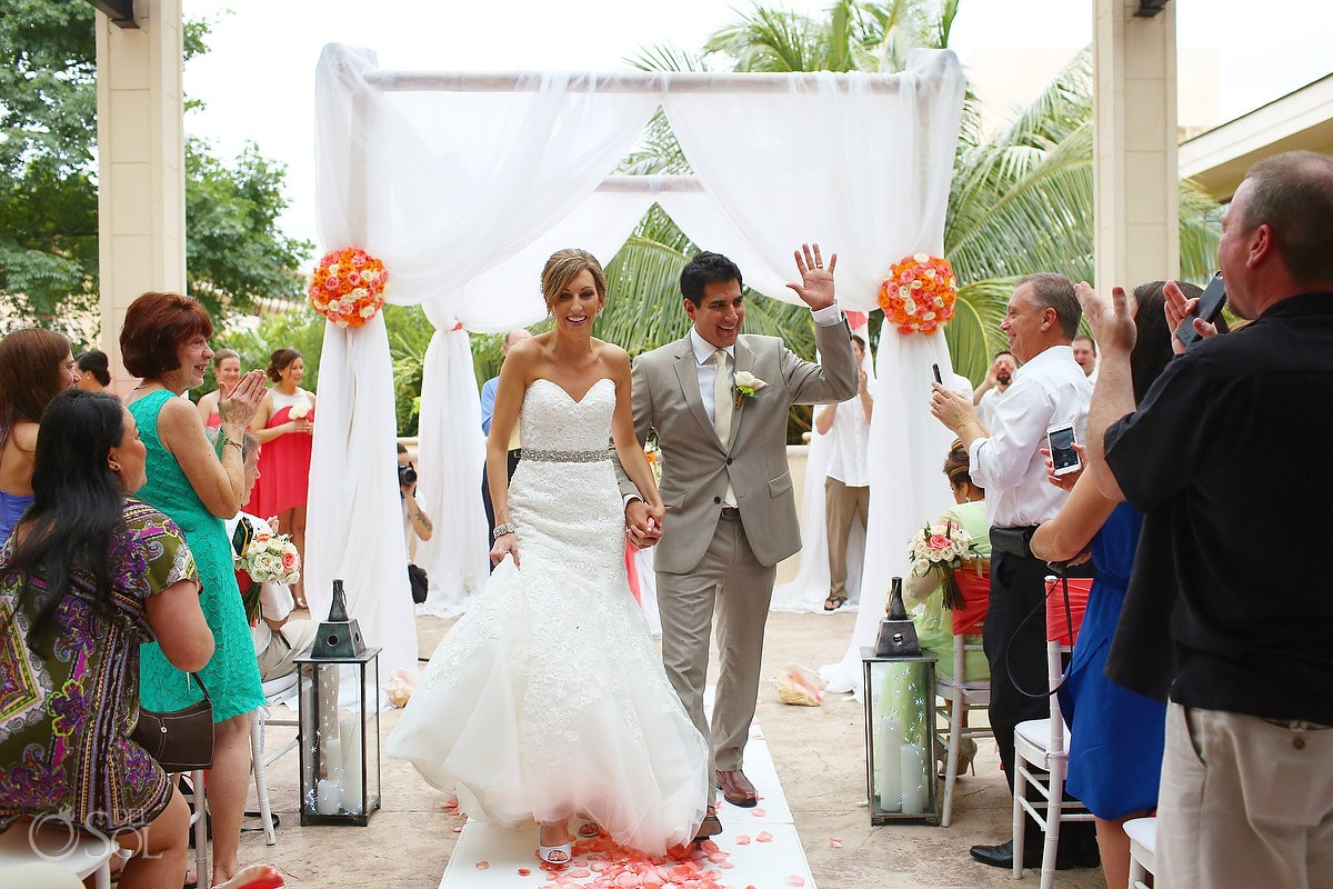 ceremony exit, rain Wedding Dreams Riviera Cancun Resort, Mexico