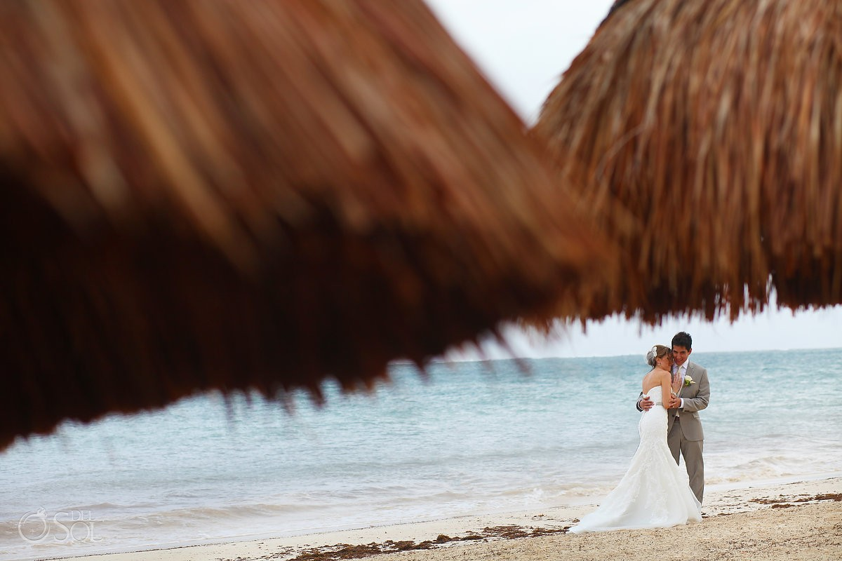 beach wedding portraits, palapa, rain Wedding Dreams Riviera Cancun Resort, Mexico