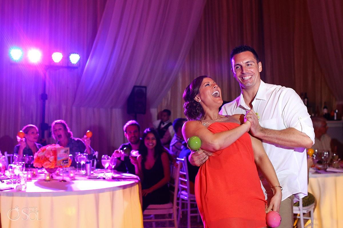 wedding party reception fun entrance maracas, rain Wedding Dreams Riviera Cancun Resort, Mexico