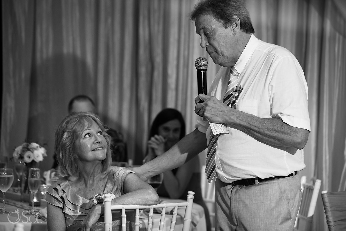 father emotional speech, black white, rain Wedding reception Dreams Riviera Cancun Resort, Mexico