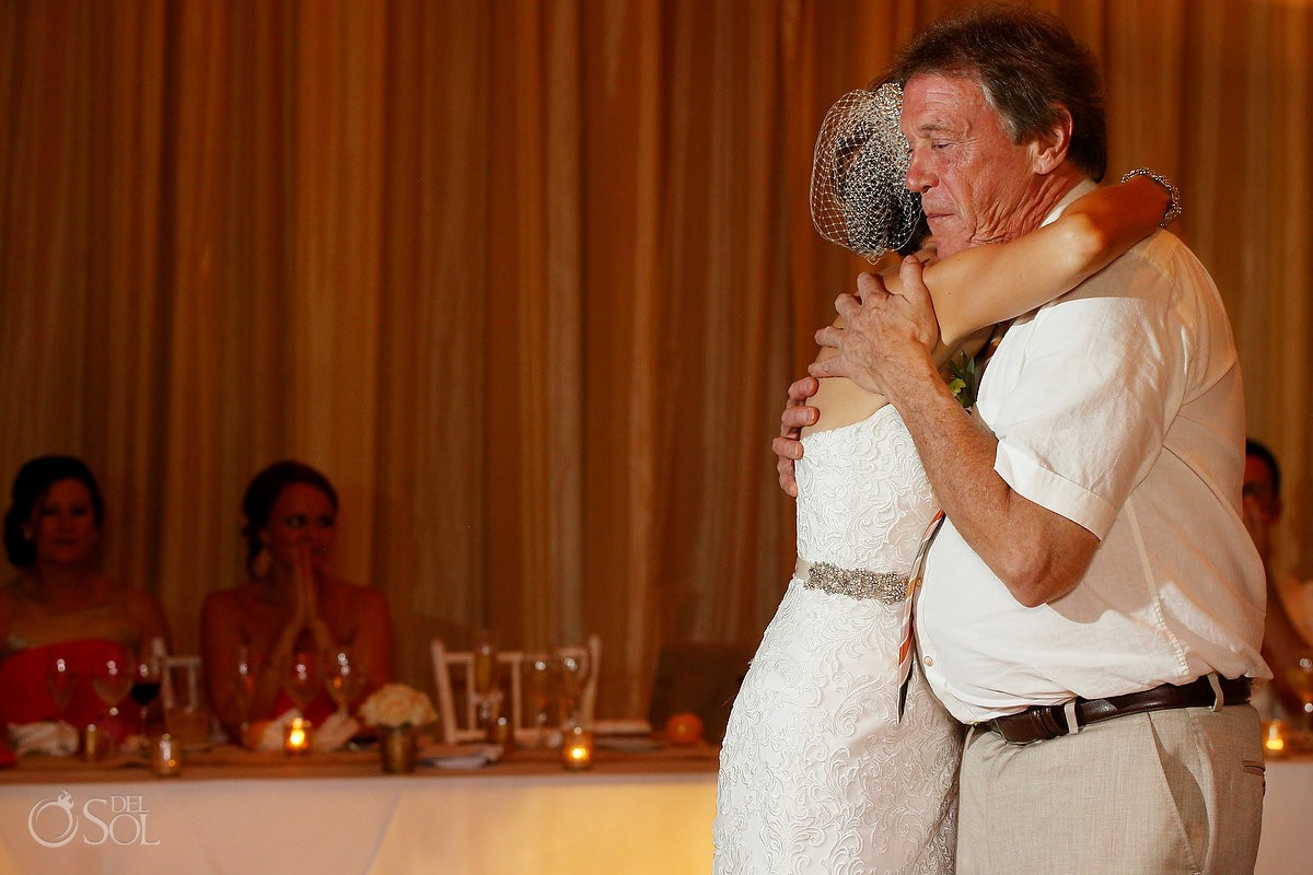 father daughter first dance, rain Wedding reception Dreams Riviera Cancun Resort, Mexico
